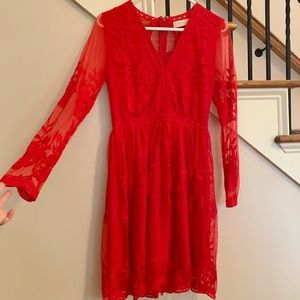 Bright Red Lace Holiday Dress